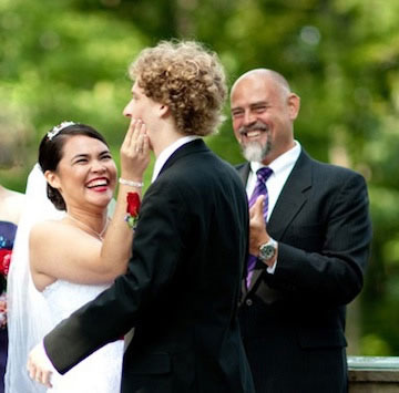 Central Park NYC Wedding Couple with Officiant