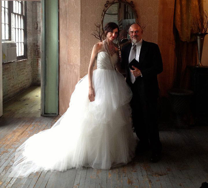 NYC Wedding Couple with Officiant