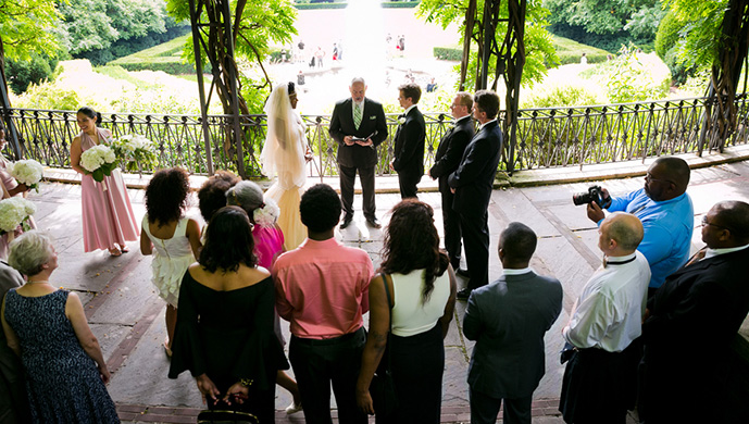 Central Park Wedding at the Conservatory Garden Wisteria Pergola