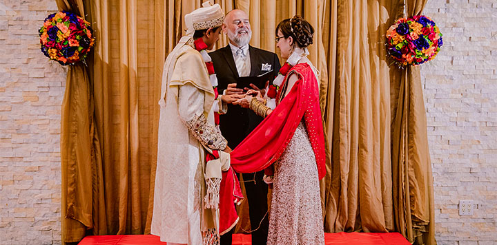 Wedding Officiant presides over Interfaith Hindu wedding ceremony in NYC