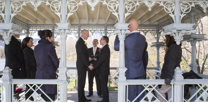 Guests witness LGBT wedding ceremony at the Ladies Pavilion in NYC's Central Park with Peter Boruchowitz