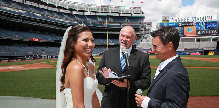 Bride and Groom get married at Yankee Stadium by NYC Wedding Officiant Peter Boruchowitz