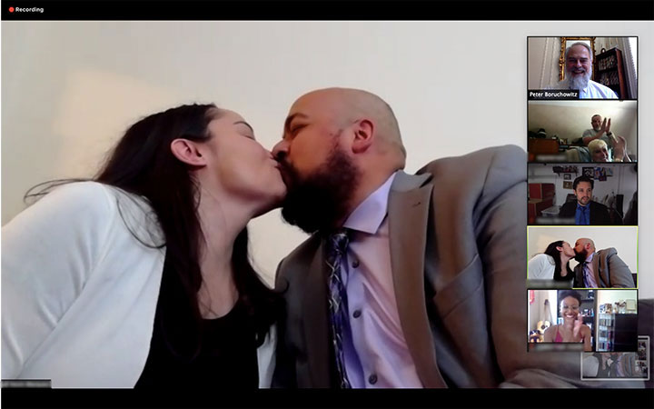Wedding guests applaud newlyweds first kiss online